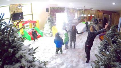 Dad Pulls Epic Indoor Snowstorm Prank On Family