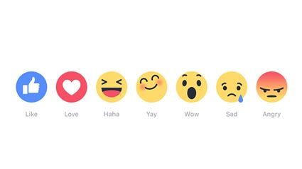 """Facebook Adds New """"Reactions"""" For The Like Button"""