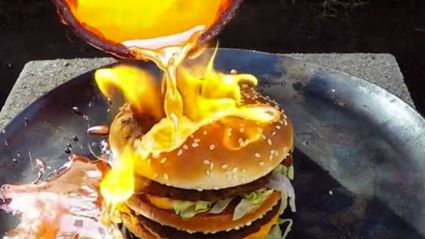 What Happens When You Pour Molten Copper Onto A Big Mac?