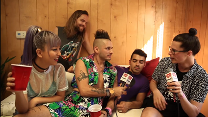 DNCE backstage at the iHeartRadio Music Festival
